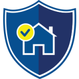 Blue shield containing the outline of a home
